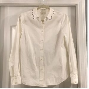 Kate spade white blouse with blue pipping collar 4